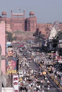 Crowded Street Near Red Fort